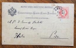 LEVICO 10/7/82 Annullo Su CARTOLINA POSTALE AUSTRIA 5 Kr Per PISA - 1850-1918 Empire