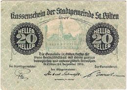 Österreich Austria Notgeld 20 HELLER FS927 ST. POLTEN /199M/ - Autriche
