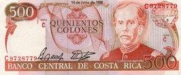 COSTA RICA 500 COLONES 1989  P-255a.2 XF-AUNC - Costa Rica
