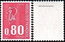 France Marianne De Béquet N° 1816 B ** Le 80c Rouge - Taille Douce - 3 Bandes Phosphore Gomme Tropicale - 1971-76 Marianne De Béquet