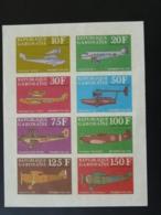 Bloc Avions Aviation Premier Vol Dornier Douglas C3 Spitfire Breguet Fokker Gabon (non Dentelé) - Gabón (1960-...)