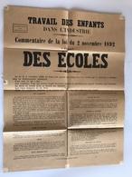 Affiche (pour Les Ecoles) TRAVAIL Des ENFANTS Dans L'INDUSTRIE Loi Du 2 Novembre 1892 - Plakate