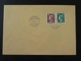 Lettre Cachet 1er Jour FDC 60c + 80c Reine Charlotte Luxembourg 1949 (ex 3) - Luxemburgo