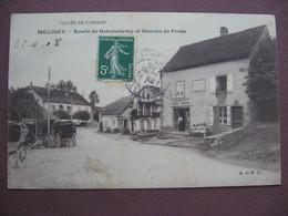CPA 70 MELISEY Route De Belonchamp Et Bureau De Poste EPICERIE MOUGENOT Sépia ANIMEE 1908 - France