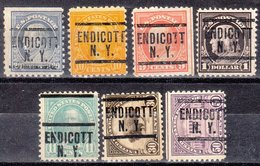 USA Precancel Vorausentwertung Preo, Locals New York, Endicott 204, 7 Diff., Perf. 2 X 10x10, 5 X 11x11 - Estados Unidos
