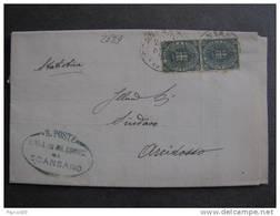 """2029 ITALIA Regno-1891-96- """"Stemma"""" C. 5 Coppia SCANSANO>ARCIDOSSO (descrizione) - Storia Postale"""