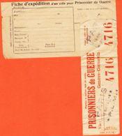 Car1069 Guerre 1914-1918 Fiche Expédition Colis Prisonnier PARIS P.L.M 18 Mai 1915 GENEVE-CORNAVIN - Guerre De 1914-18