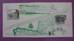 Encart Commemoratif Folder Route Vers L'Espagne Saint-Jacques De Compostelle Santiago De Compostela Bordeaux 1977 - Francia