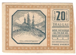 Österreich Austria Notgeld 20 HELLER FS1065 THALGAU /194M/ - Austria