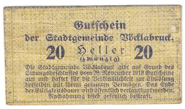 Österreich Austria Notgeld 20 HELLER FS1116 VOCKLABRUCK /192M/ - Autriche