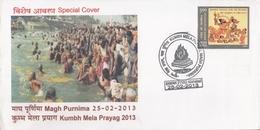 India 2013  Magh Purnima Holy Bath  Kumbh Mela Prayag  Special Cover  #  26451  D  Inde Indien - Hinduism
