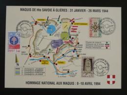 Feuillet Commemoratif Maquis Résistance Plateau Des Glières Thones 74 Haute Savoie 1994 - WW2