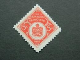 Vignette De Monaco 5 C Pour La Croix Rouge Française 1916 - Croix Rouge