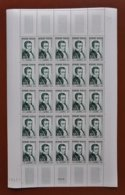 Feuille De 25 Timbres FRANCE 1952 N°936 ** (LAËNNEC. 12F VERT FONCÉ) - Full Sheets