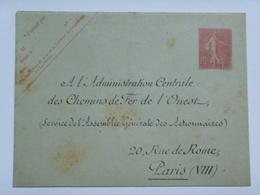 Enveloppe Neuve - A L'Administration Centrale Des Chemins De Fer De L'Oeust - Semeuse, 10 C - Entiers Postaux
