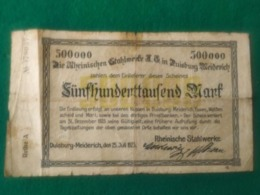 500.000 MARK DUISBURG - [ 3] 1918-1933 : República De Weimar