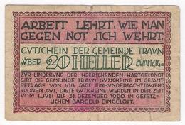 Österreich Austria Notgeld 20 HELLER FS1080 TRAUN /191M/ - Autriche