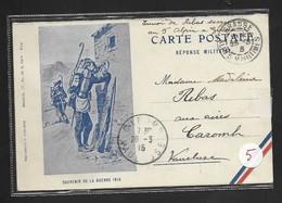 """Carte En Franchise Militaire . Réponse Militaire . """" Souvenir De La Guerre 1914 (!)"""" Mars 1915 - Postmark Collection (Covers)"""