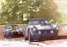 Ferrari 250GT  -  Pilotes: Gendebien/Mairesse  - Tour De France Auto 1960  - Illustrateur: Pierre Englebert - CPM - Le Mans