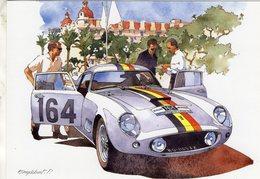 Ferrari 250GT  -  Pilotes: Gendebien/Bianchi  - Tour De France Auto 1958  - Illustrateur: Pierre Englebert - CPM - Le Mans