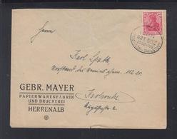 Dt. Reich Brief 1920 Bahnpost Karlsruhe-Herrenalb - Deutschland