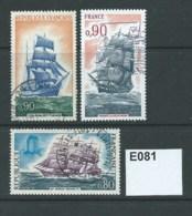 France 1971-5 Sailing Ships 3 Values - France