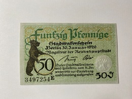 Allemagne Notgeld Berlin 50 Pfennig - [ 3] 1918-1933 : République De Weimar