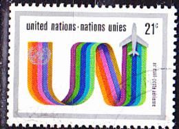 """UN New York - """"UN"""" Als Kondensstreifen (MiNr: 248) 1972 - Gest Used Obl - New-York - Siège De L'ONU"""