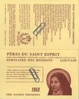 Leuven - Louvain : Kalender 1968 : Pères Du Saint Esprit - Séminaire Des Missons      (  Zie Scans  ) - Calendriers