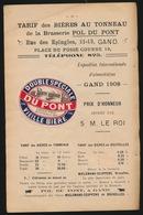 GENT  RECLAME UIT BOEK 23 X 15 CM  -  BRASSERIE POL DU PONT  RUE DES EPINGELS MET ORIGINEEL BIERETIKET - Publicités