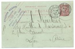 10c SEMEUSE SUR CARTE POSTALE /  GARE DE LANGONNE LOZERE POUR LYON / 1905 / HOUILLERES DE MARSANGES - Marcophilie (Lettres)