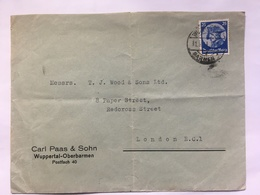GERMANY 1933 Cover Wuppertal To London - `Carl Paas & Sohn` - Germany