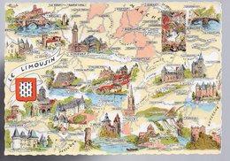 REF 477 :  CPSM Contour De Département Carte Géographique 23 CREUSE CORREZE 19 Le Limousin Homualk - Maps