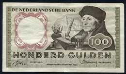 :Netherlands  -  100 Gulden 1953 'Erasmus' 2-2-1953 - [2] 1815-… : Kingdom Of The Netherlands