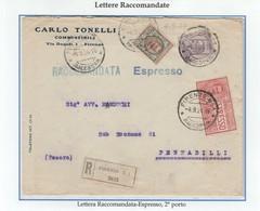 REGNO 102 - Lettera Racc.Espresso 2° Porto, Viagg. Nel 1924 Da Firenze A Pennabilli - Storia Postale