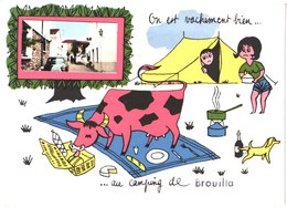 FR66 BROUILLA - CPSM 10 * 15 - On Est Vachement Bien Au Camping - DS - Belle - France