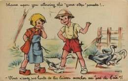 210320 - MILITARIA GUERRE 1939 45 FM Illustrateur Genre Bouret Germaine Marcher Au Pas Oie Soldat Photocrom Toulouse - Marcophilie (Lettres)
