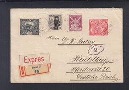 CSR Expresbrief 1920 Brno Nach Heidelberg Irrläufer USA ? - Czechoslovakia