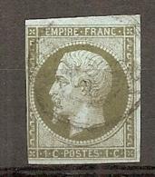 Yv. N° 11 (o)  1c Olive Napoléon III  Cote  90 Euro D 2 Scans - 1853-1860 Napoléon III.