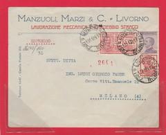 REGNO 102A - Lettera Espresso, Viagg. Nel 1924 Da Livorno A Milano - Storia Postale