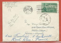 ETATS UNIS LETTRE PAR AVION DE 1952 DE CLEVELAND POUR MULHOUSE FRANCE VIA ALGER - Vereinigte Staaten