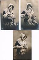 3 Cartes Femme Chat  -lady Cat -katze -Nederlandse Vrouw  Poes - Chats