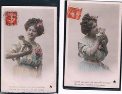 2 Carte Chat Et Jeune Femme -  Cats, Lady -katzen -vrouw En  Poesje - Chats