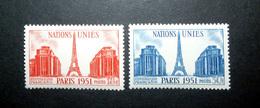 FRANCE 1951 N°911 ET 912 ** (NATIONS-UNIES PARIS 1951) - Unused Stamps