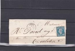 LOMBEZ ( GERS ) PC 1750  -  LAC +   N° 14 A  Pour TOULOUSE  - 11 AVRIL 1860 - REF 13712 + Variété - 1849-1876: Période Classique