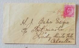 """Busta Di Lettera Per Lady Minto Fete Calcutta Anno 1907 - Timbro Rosso """"Minto Fete Calcutta 1907"""" - 1902-11 Koning Edward VII"""
