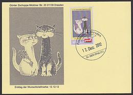 Cat Katze Privatpost BRD Schmuckblatt Telegramm Lx Motiv: Kater Und Katze Als Paar Ersttag PostModern - Chats Domestiques