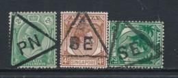 STRAITS SETTLEMENTS, Three Triangular Postmarks - Straits Settlements