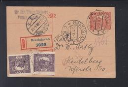 CSR R-GSK Mit ZuF 1920 Bratislava Nach Heidelberg - Brieven En Documenten