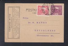 CSR PK 1920 Budojowice Nach Heidelberg - Briefe U. Dokumente